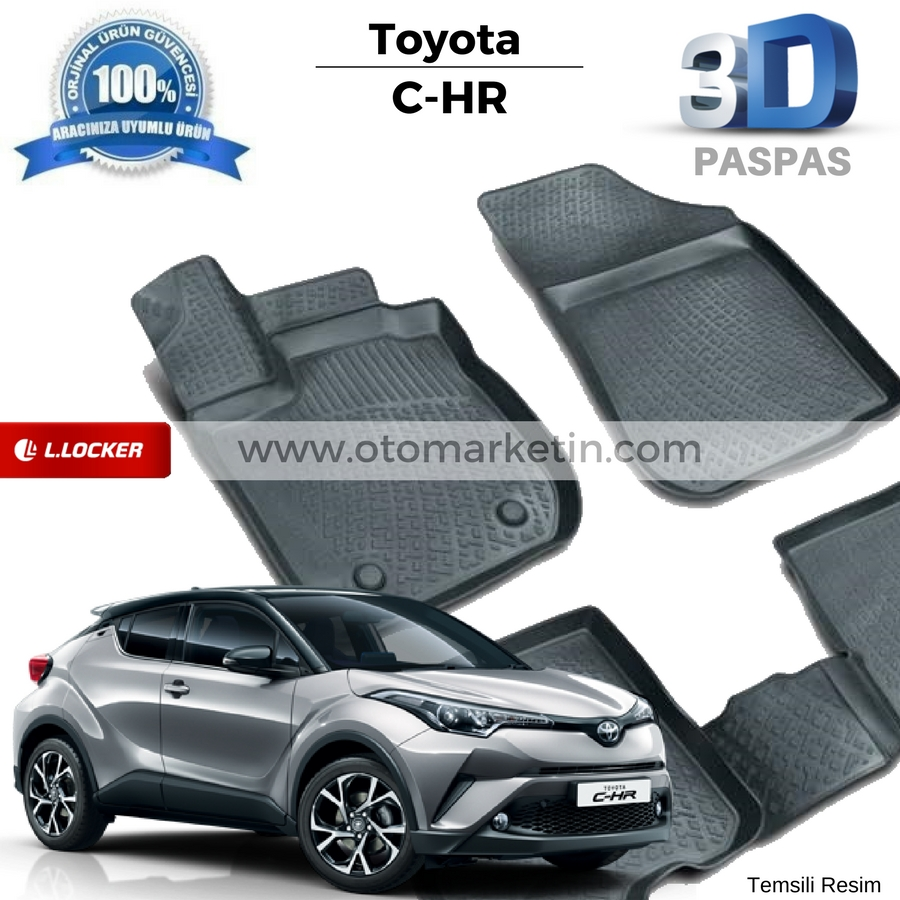 Toyota CHR 3D Havuzlu Paspas - Otomarketin.com