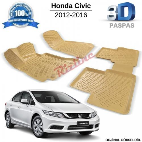 Honda Civic Sedan 3D Bej Havuzlu Paspas 2012-2016